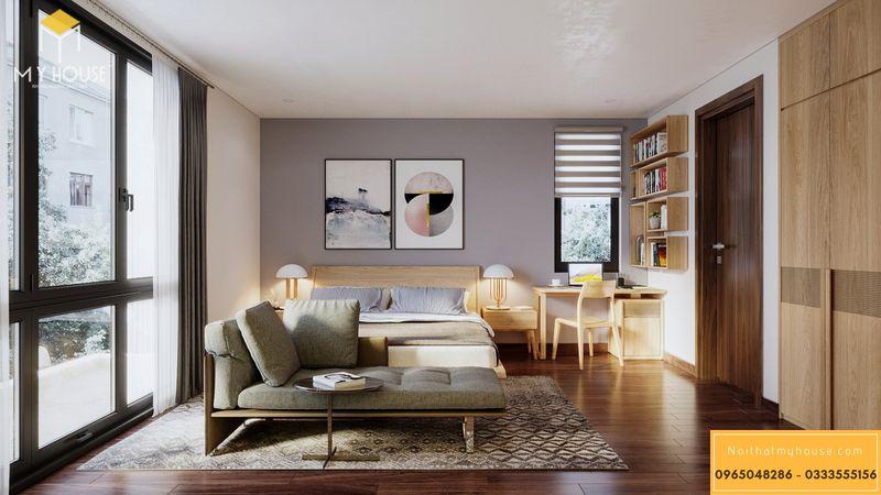 Mẫu thiết kế nội thất phòng ngủ master biệt thự gỗ tự nhiên bền đẹp