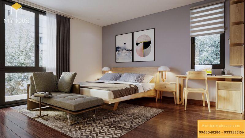 Mẫu phòng ngủ master gỗ sồi hiện đại cho biệt thự