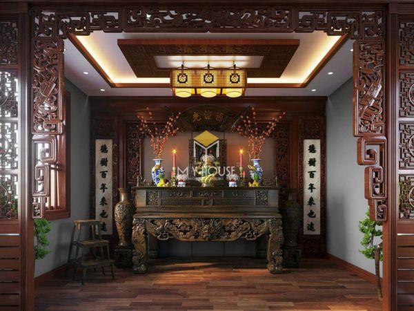 Phòng thờ nên đặt ở đâu - Mẫu phòng thờ gỗ tự nhiên 12