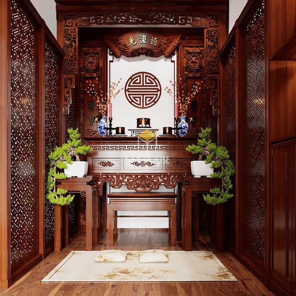 Phòng thờ nên đặt ở đâu - Mẫu phòng thờ gỗ tự nhiên 07