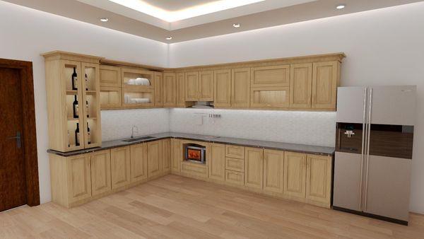 Ứng dụng của gỗ sồi trong nội thất gia đình - tủ bếp gỗ sồi chữ L