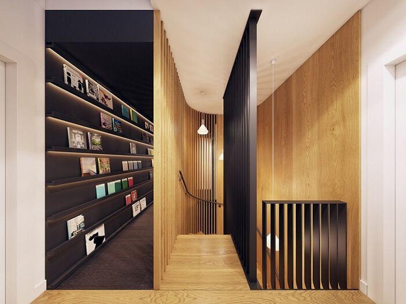 Mẫu thiết kế nội thất tại Quảng Ninh - Thiết kế cầu thang lên với gỗ tre
