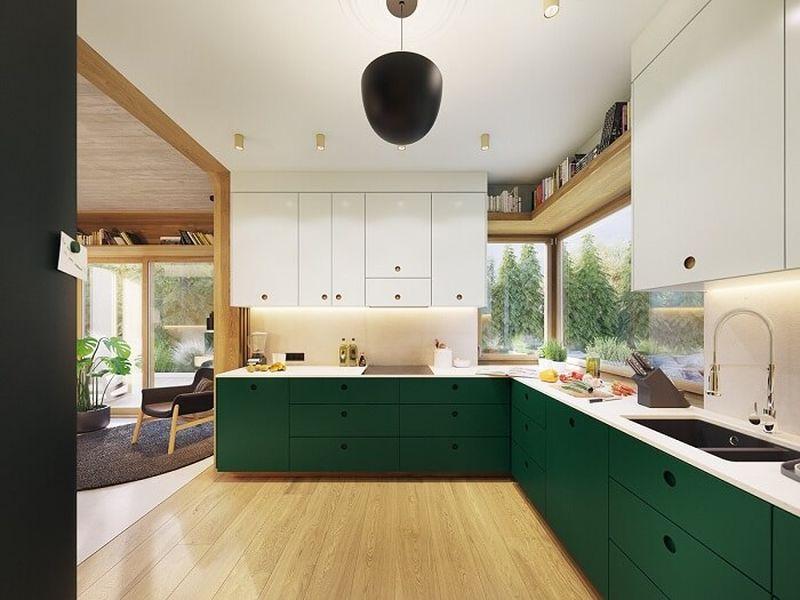 Mẫu thiết kế nội thất tại Quảng Ninh - Phòng bếp có cửa sổ thông thoáng