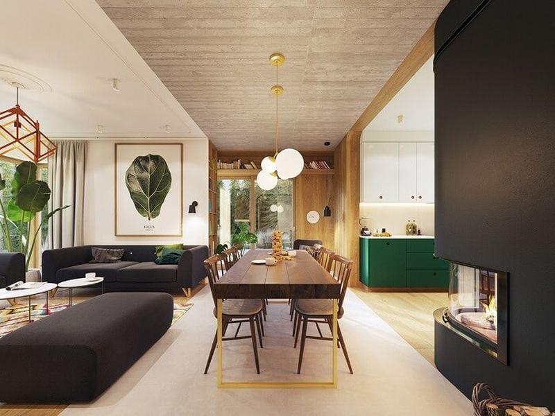 Mẫu thiết kế nội thất tại Quảng Ninh - Phòng khách bếp liên thông