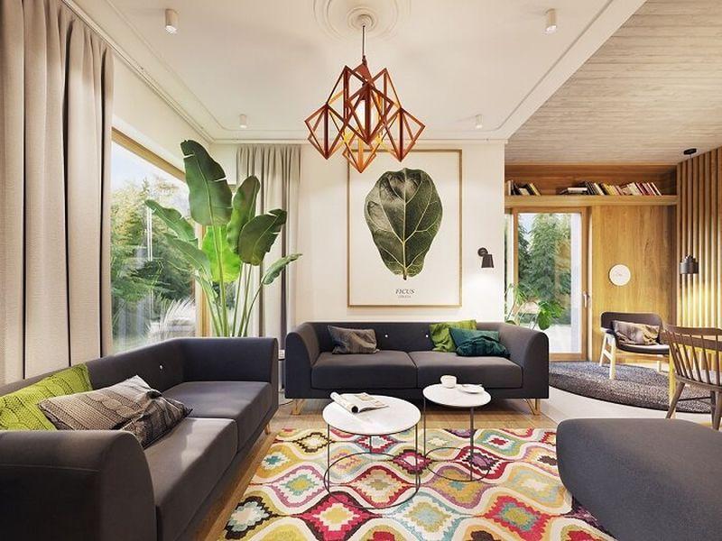 Mẫu thiết kế nội thất tại Quảng Ninh - Phòng khách thiết kế không gian mở
