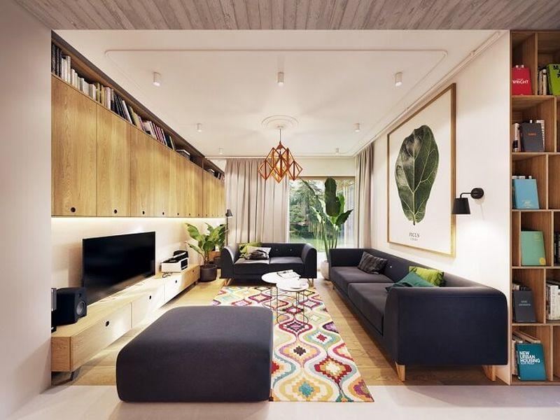Mẫu thiết kế nội thất tại Quảng Ninh - Trang trí đơn giản, với màu xanh làm điểm nhấn