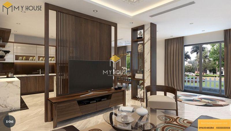 Thiết kế vách tivi phòng khách kiêm vách ngăn không gian