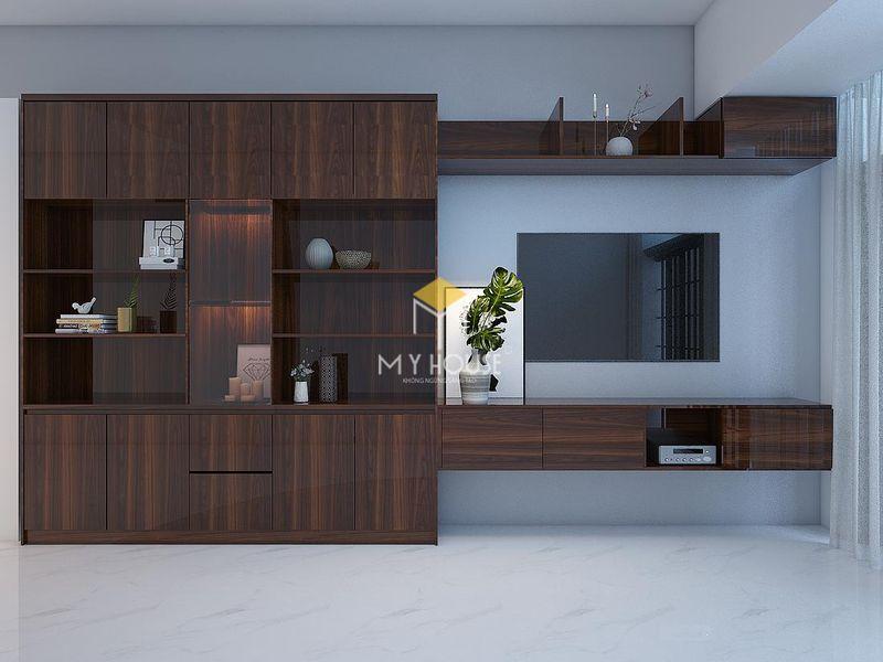 Mẫu kệ tivi phòng khách kết hợp tủ trang trí