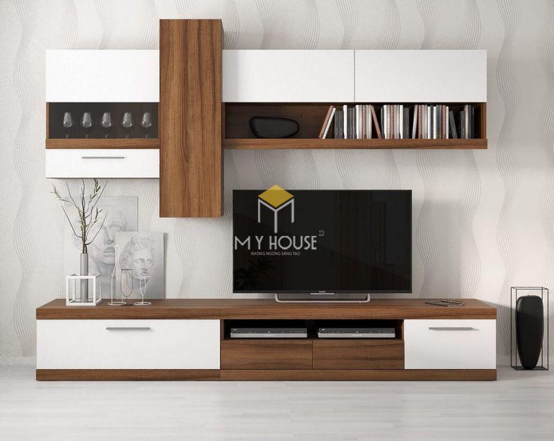 Vách tivi phòng khách hiện đại kết hợp kệ, giá trang trí