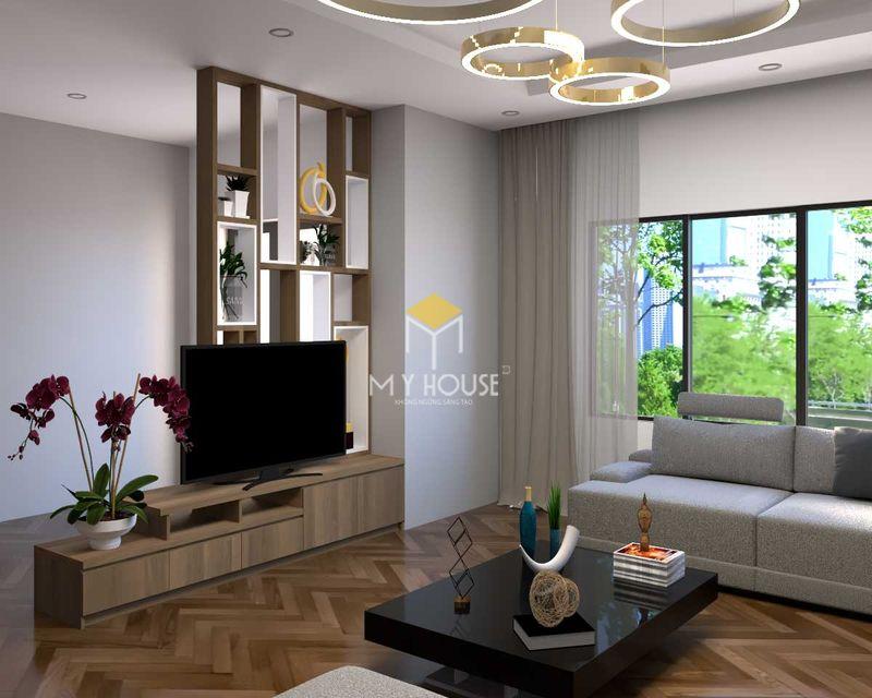 Thiết kế vách tivi phòng khách kết hợp kệ trang trí và vách ngăn không gian