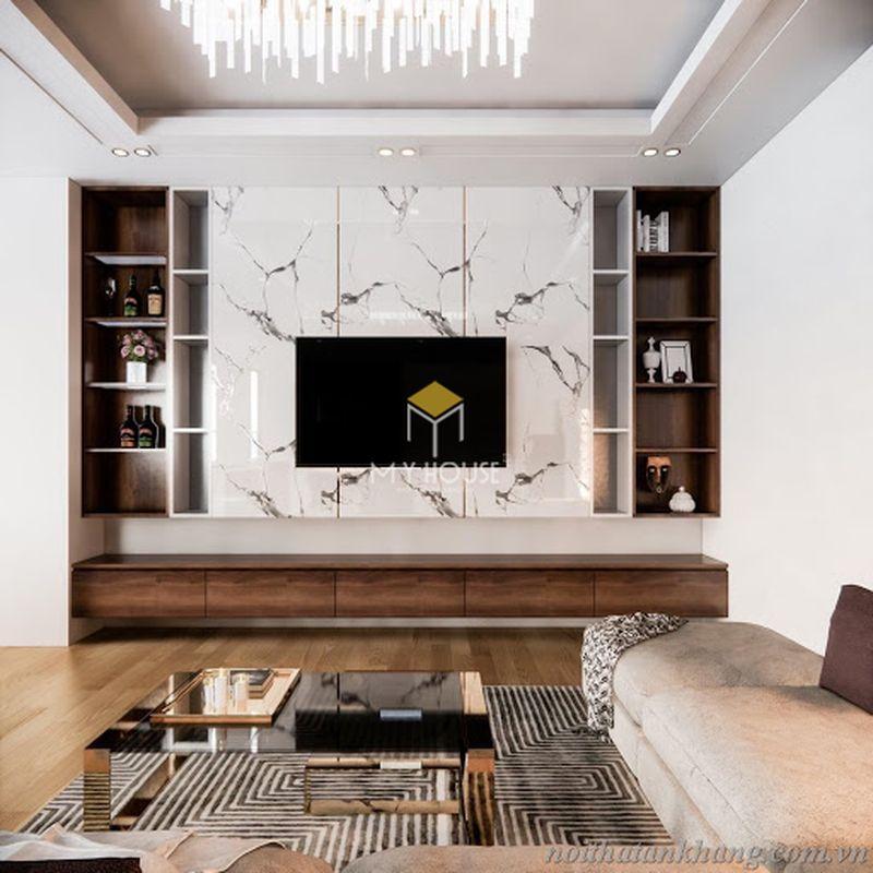 Thiết kế vách tivi phòng khách hiện đại chất liệu nhựa PVC vấn đá