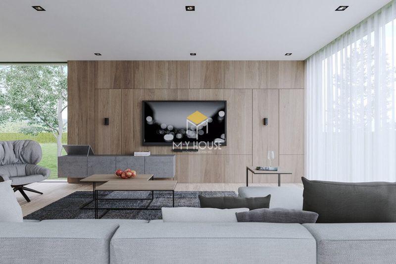 Thiết kế vách tivi phòng khách đẹp cho nhà không gian mở