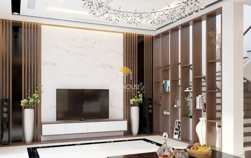 Mẫu vách tivi phòng khách hiện đại chất liệu nhựa vân đá