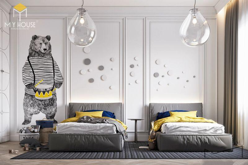 Thiết kế phòng ngủ nhỏ 2 giường - Mẫu 01