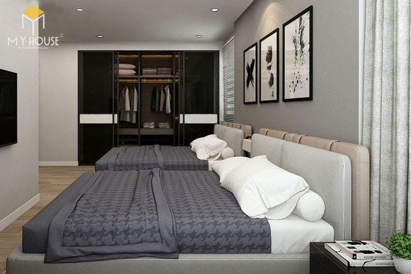 Thiết kế phòng ngủ nhỏ 2 giường - Mẫu 09