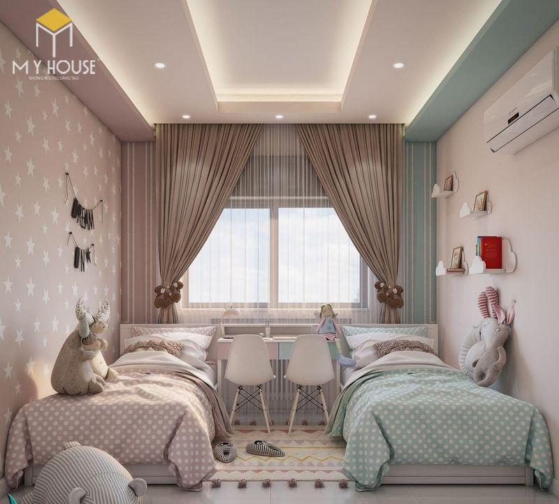 Thiết kế phòng ngủ nhỏ 2 giường - Mẫu 08