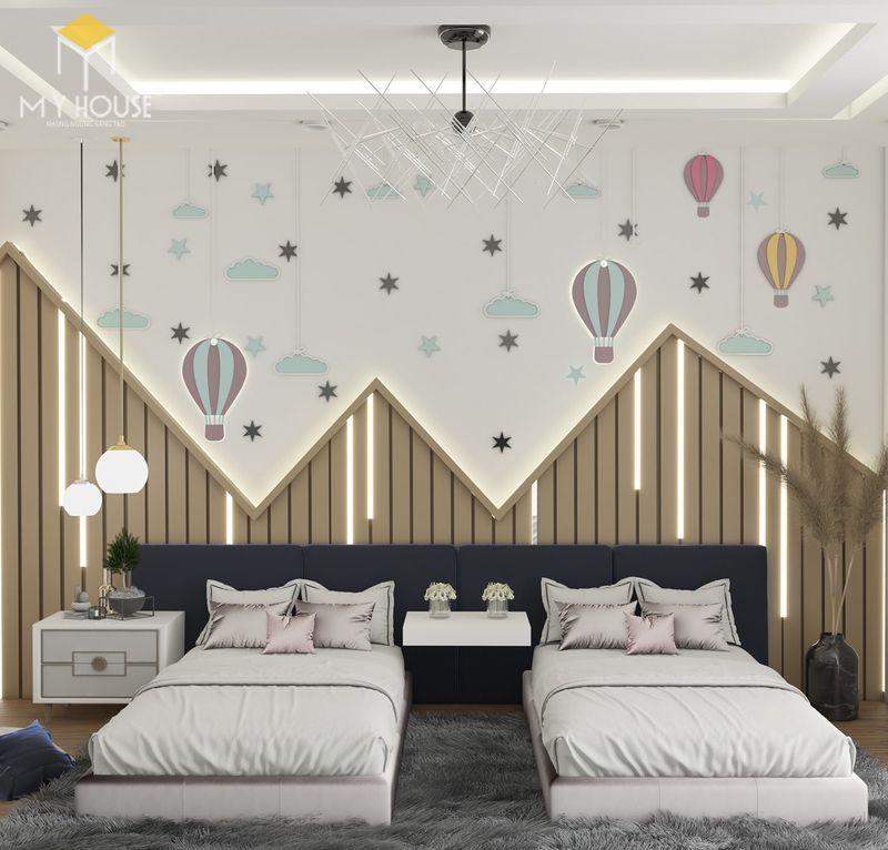 Thiết kế phòng ngủ nhỏ 2 giường - Mẫu 10