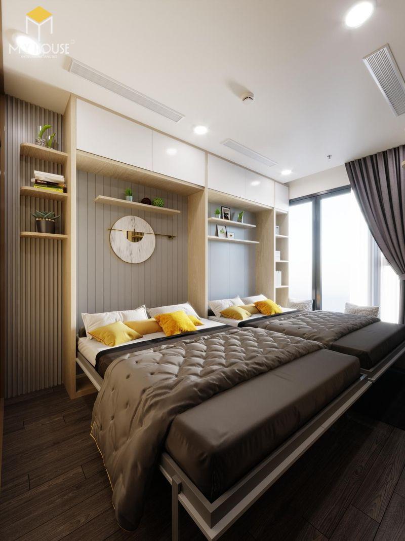 Thiết kế phòng ngủ nhỏ 2 giường - Mẫu 06
