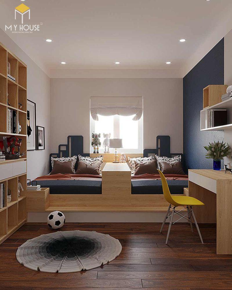 Thiết kế phòng ngủ nhỏ 2 giường - Mẫu 07