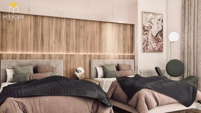 Thiết kế phòng ngủ nhỏ 2 giường 1