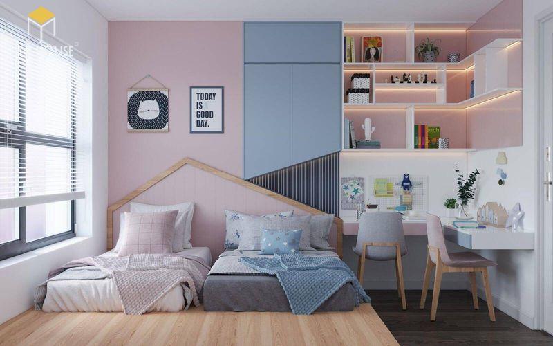 Thiết kế phòng ngủ nhỏ 2 giường - Mẫu 02