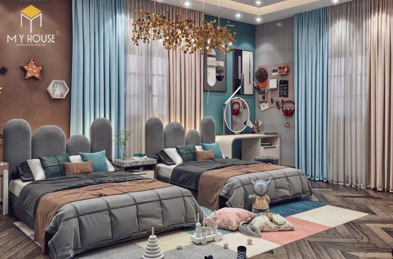 Thiết kế phòng ngủ nhỏ 2 giường - Mẫu 04