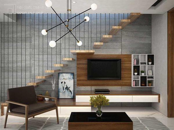 Mẫu trang trí kệ tivi gầm cầu thang đẹp 10