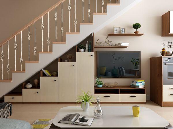 Mẫu trang trí kệ tivi gầm cầu thang đẹp 11