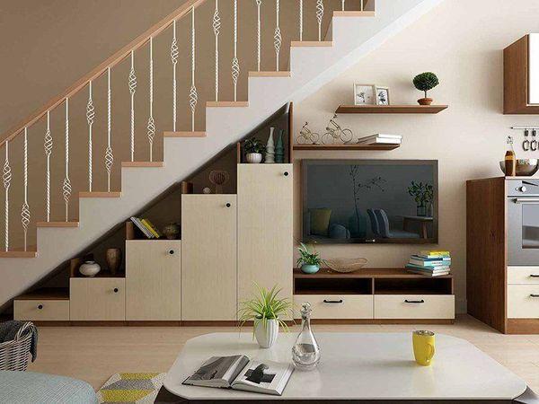 Mẫu trang trí kệ tivi gầm cầu thang đẹp 14