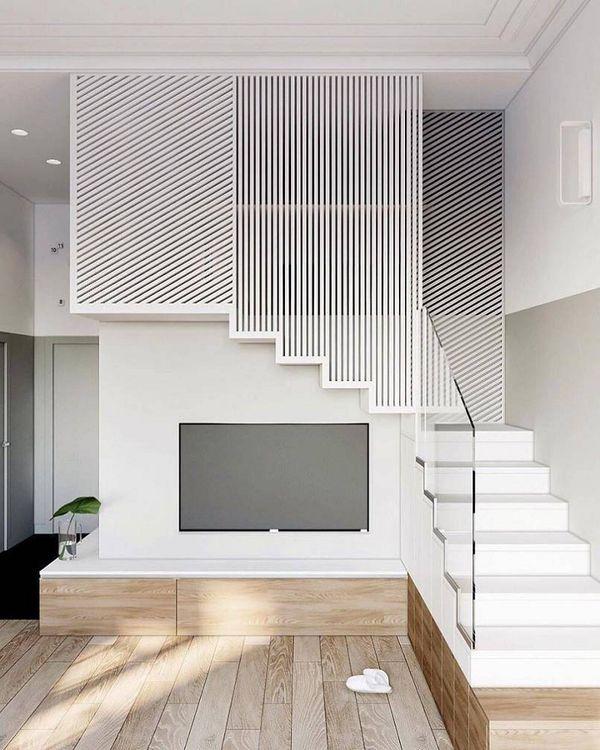 Mẫu trang trí kệ tivi gầm cầu thang đẹp 16