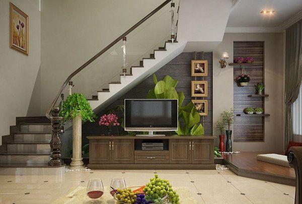 Mẫu trang trí kệ tivi gầm cầu thang đẹp 08