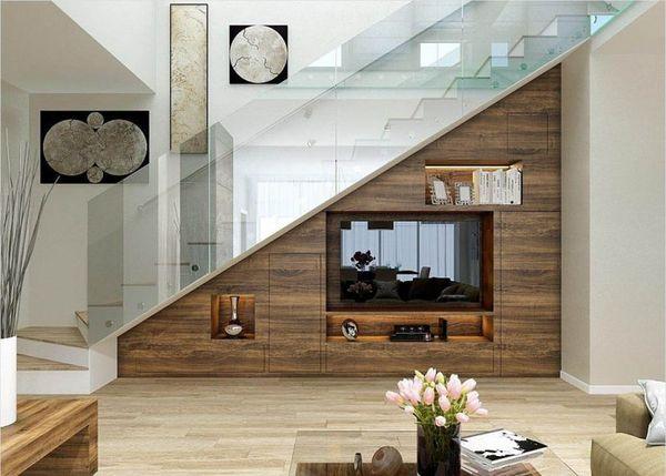 Mẫu trang trí kệ tivi gầm cầu thang đẹp 09