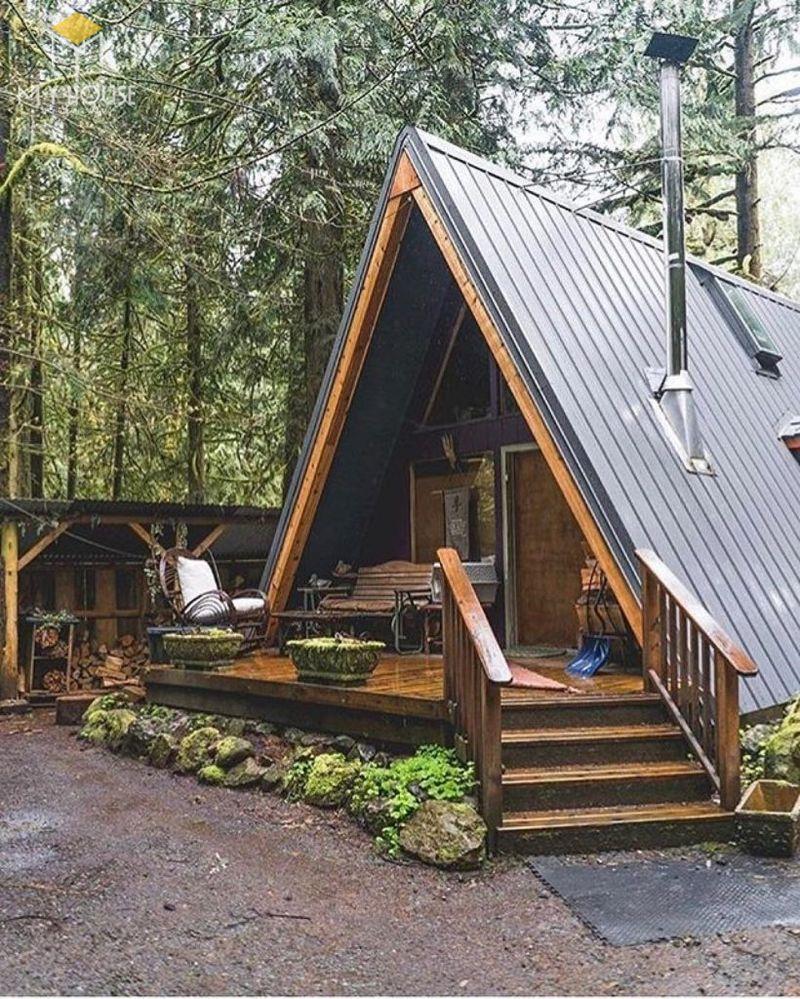 Thiết kế mẫu nhà gỗ nhỏ đẹp hình tam giác