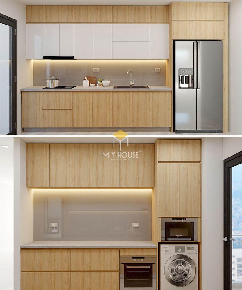 Mẫu tủ bếp dài 2m - Mẫu 13