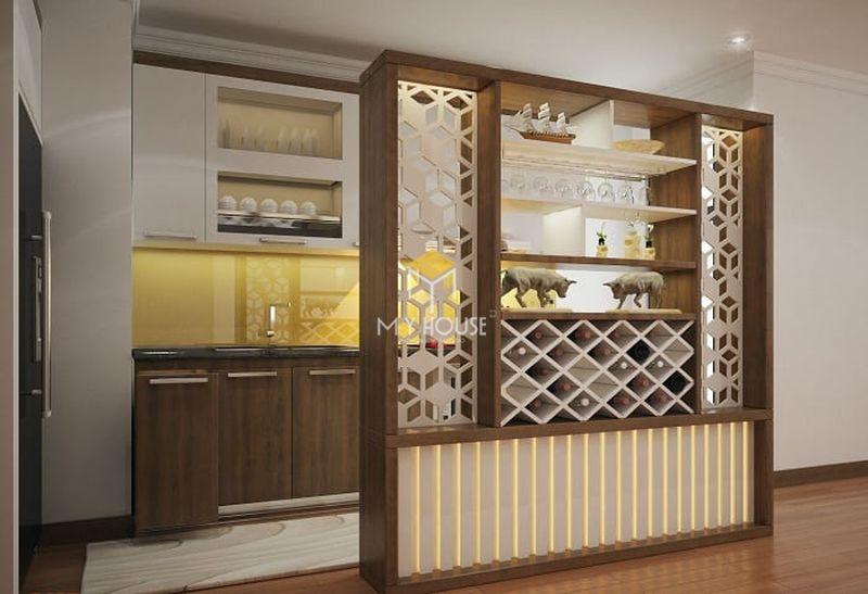 Mẫu tủ rượu phòng bếp - Mẫu 09