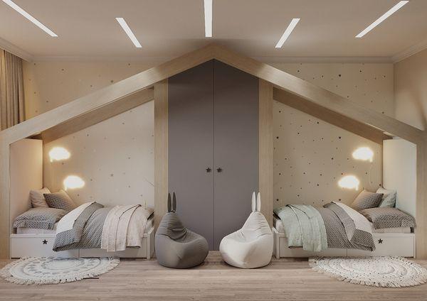 Phòng ngủ chung cho bé trai và bé gái - Mẫu 09