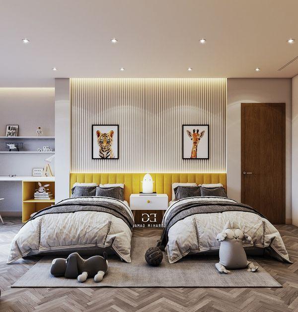 Lưu ý khi thiết kế phòng ngủ chung - cách đặt giường ngủ - Mẫu 18