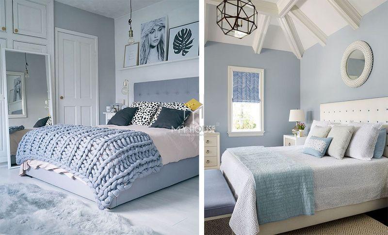 Phòng ngủ đẹp cho nữ màu xanh - mẫu 02