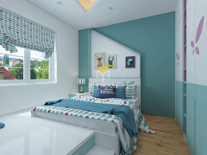 Phòng ngủ đẹp cho nữ màu xanh - mẫu 09