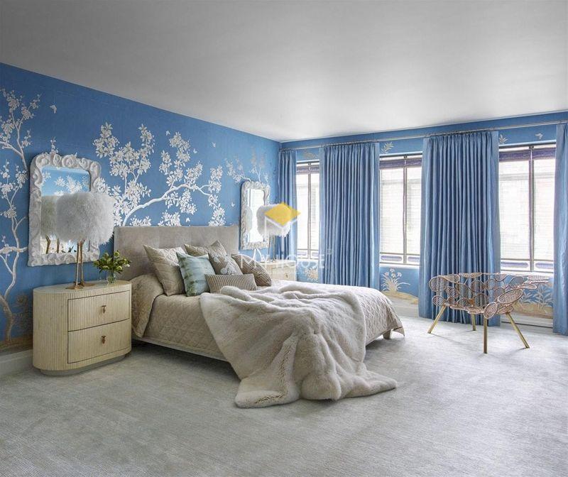 Phòng ngủ đẹp cho nữ màu xanh - mẫu 10