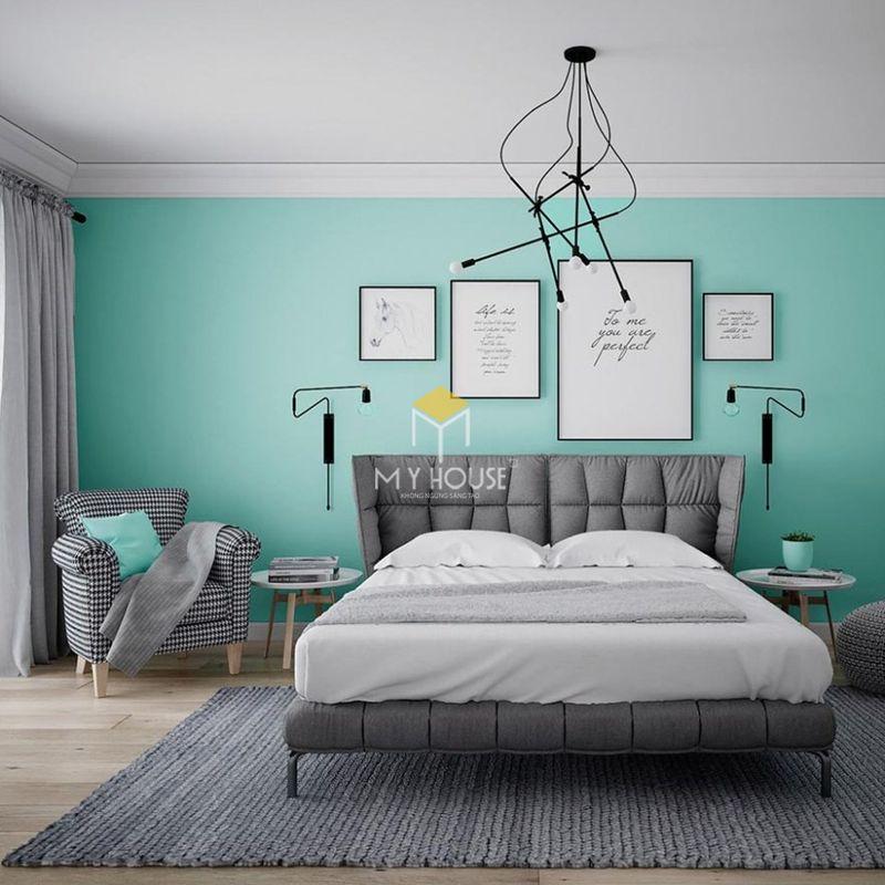 Phòng ngủ đẹp cho nữ màu xanh - mẫu 16