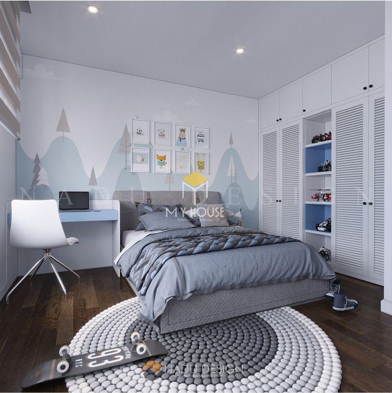 Phòng ngủ đẹp cho nữ màu xanh - mẫu 12