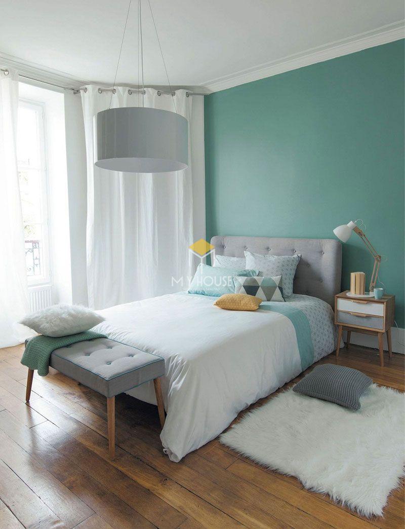 Phòng ngủ đẹp cho nữ màu xanh - mẫu 13