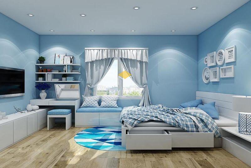Phòng ngủ đẹp cho nữ màu xanh - mẫu 04