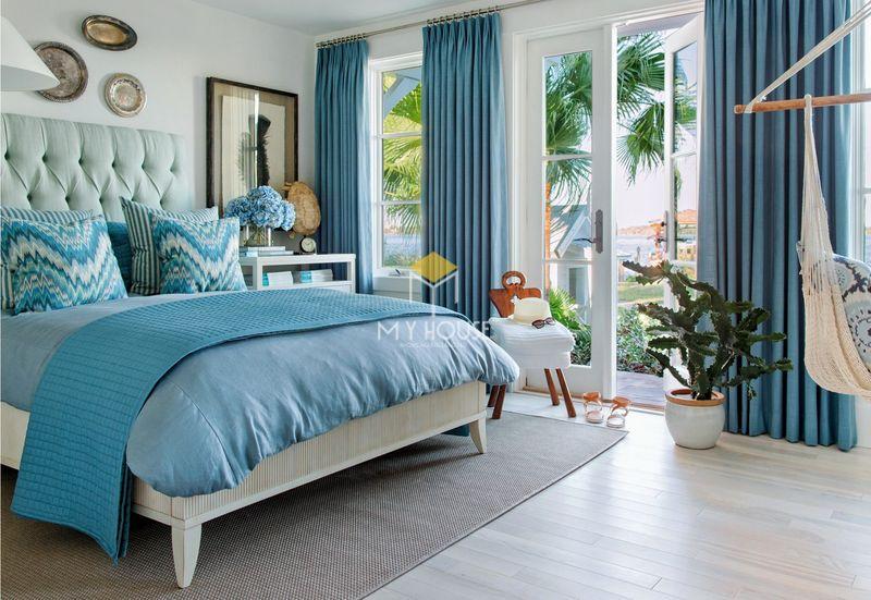 Phòng ngủ đẹp cho nữ màu xanh - mẫu 06