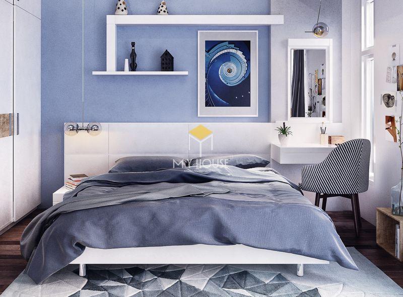 Phòng ngủ đẹp cho nữ màu xanh - mẫu 08