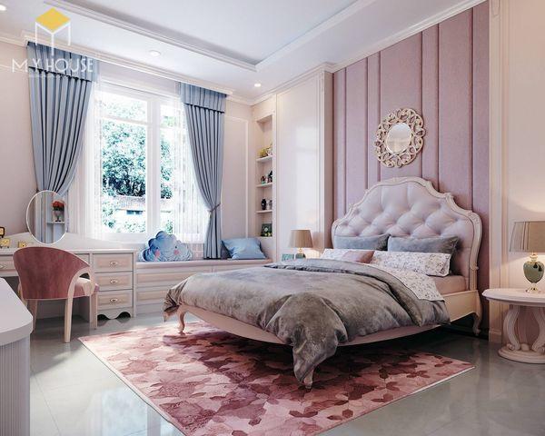 Phương án thiết kế phòng ngủ đẹp tân cổ điển màu hồng - Nội thất