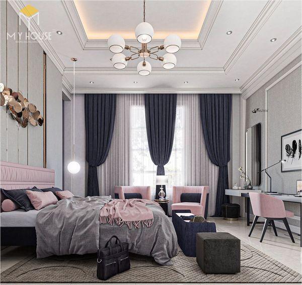 Phương án thiết kế phòng ngủ đẹp tân cổ điển màu hồng - Màu sắc
