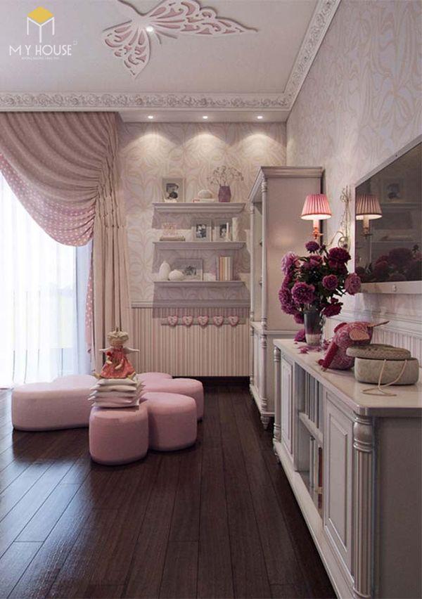Phương án thiết kế phòng ngủ đẹp tân cổ điển màu hồng - Bố trí nội thất phù hợp