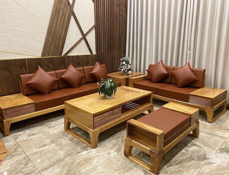 Bộ ghế Sofa gỗ gõ đỏ hiện đại - 07